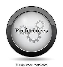 Preferences icon. Internet button on white background.