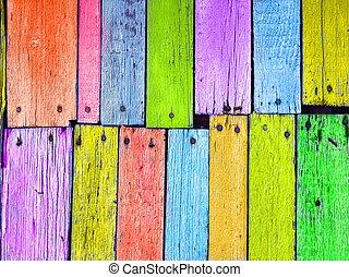 pregado, madeira, tábua, coloridos