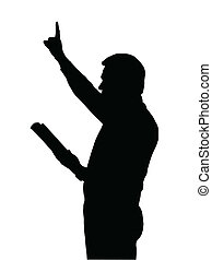 pregador, ensinando, levantado, bíblia, braço