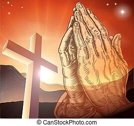 pregare, cristiano, croce, mani