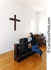 pregare, davanti, croce
