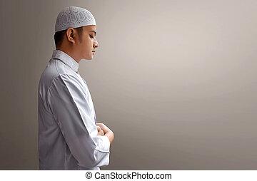 pregare, musulmano, uomo