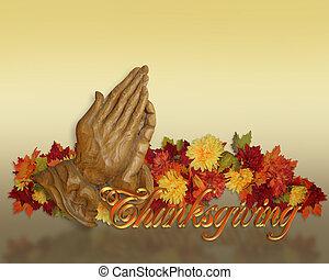 pregare, ringraziamento, mani