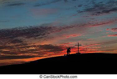 pregare, tramonto, colorito, uomo