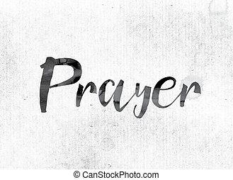 preghiera, concetto, dipinto, in, inchiostro