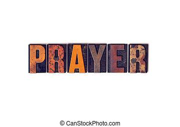 preghiera, concetto, isolato, letterpress, tipo