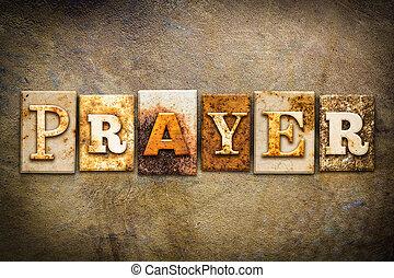 preghiera, concetto, letterpress, cuoio, tema