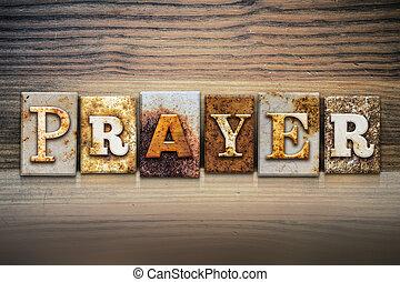 preghiera, concetto, letterpress, tema