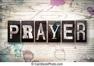 preghiera, concetto, metallo, letterpress, tipo