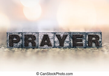preghiera, concetto, vendemmia, letterpress, tipo