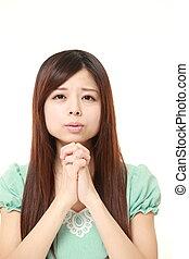 preghiera, donna, piegatura, lei, mani