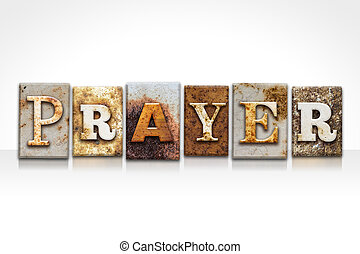 preghiera, letterpress, concetto, isolato, bianco