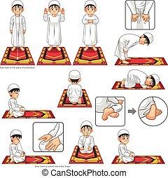 preghiera, musulmano, completo, eseguire, guida, set, ragazzo, posizione, passo