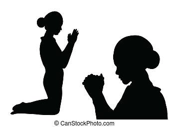 preghiera, silhouette
