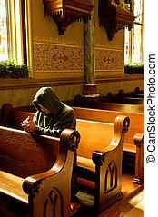 preghiere, a, chiesa