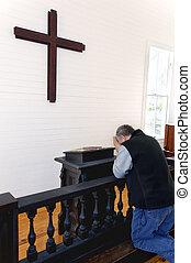 preghiere, in, uno, semplice, chiesa