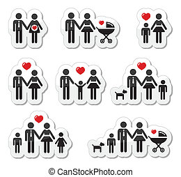 pregna, gens, famille, -, icônes, bébé