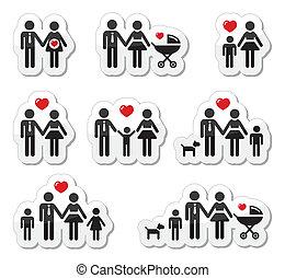 pregna, gente, familia , -, iconos, bebé