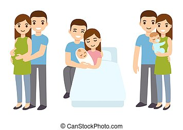 Pregnancy and birth in family. - Cute cartoon young couple ...