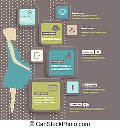 Pregnancy and birth infographics and icon set