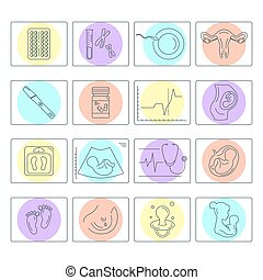Pregnancy and childbirth. Vector line icons.