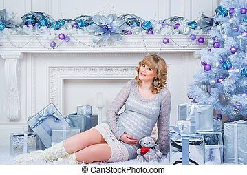 Pregnancy and Christmas, people and expectation concept -...