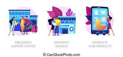 Expectant mother healthcare, safe pregnancy and childbirth. Pregnancy support center, maternity services, maternity care products metaphors. Vector isolated concept metaphor illustrations.