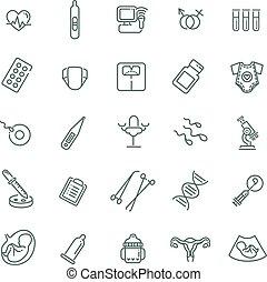 Pregnancy and motherhood line icons set