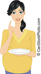 Pregnancy Appetite - Illustration Featuring a Pregnant Woman...