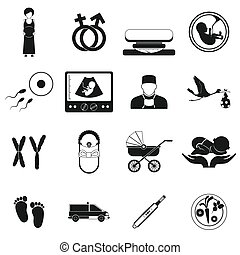 Pregnancy black simple icons set