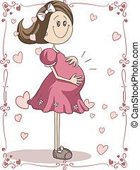 Pregnancy Cartoon - Vector hand-drawn cartoon illustration...