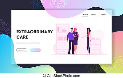Pregnancy, Childbearing Website Landing Page. Young Couple Man and Pregnant Woman at Doctor Appointment Room in Hospital, Happy Family Waiting Baby Web Page Banner. Cartoon Flat Vector Illustration