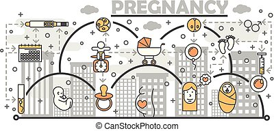 Pregnancy concept vector illustration. Modern thin line art flat style design element with maternity and childbirth symbols, icons for website banners and printed materials.