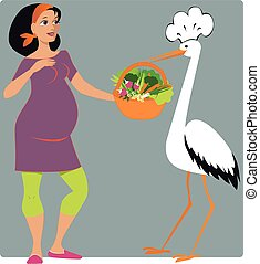 Stork in a chef's hat bringing a basket of vegetables to a young pregnant woman, vector cartoon