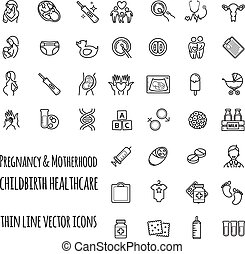Pregnancy, fertilization and motherhood vector icon set. Gynecology, childbirth healthcare thin line icons set