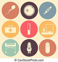 Pregnancy flat icon set in color circles