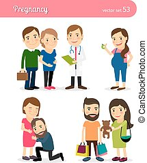 Pregnancy. Healthy eating and seeing doctor, shopping. ...