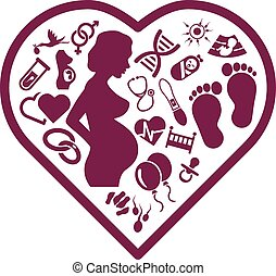 pregnancy icons in heart