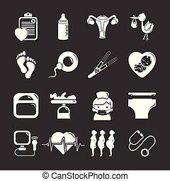 Pregnancy icons set grey vector