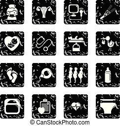 Pregnancy icons set grunge vector