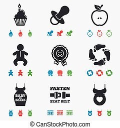 Pregnancy, maternity and baby care icons. Apple, award and...