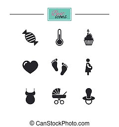 Pregnancy, maternity and baby care icons.