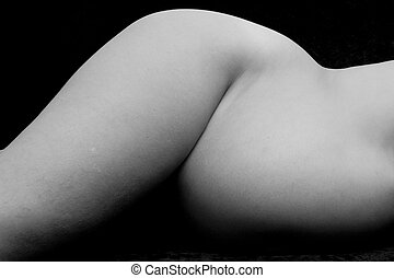 Pregnancy - A black and white shot of a pregnant woman