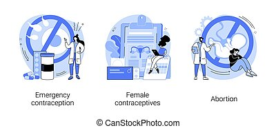 Pregnancy planning abstract concept vector illustration set. Emergency contraception, female contraceptives, abortion, oral hormonal pill, fertility control, ultrasound diagnostic abstract metaphor.