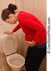 Pregnancy - pregnant woman morning sickness - Pregnant woman...