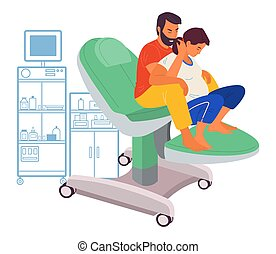 Pregnancy preparing, wife and husband make a position check sitting on a medical chair in hospital