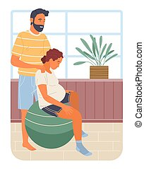 Pregnancy preparing, wife and husband make position training sitting on ball, man massages her back