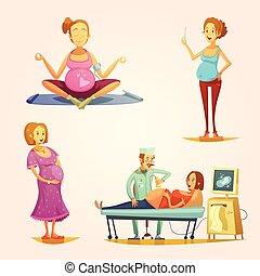 Pregnancy Retro Cartoon 4 icons Set