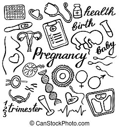 Pregnancy set. Hand-drawn cartoon collection. Doodle drawing.