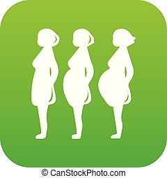 Pregnancy stage icon green vector